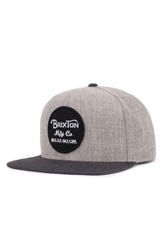 The Wheeler Snapback Hat from Brixton. The Wheeler is a six-panel cut and  sew acrylic wool cap with a custom embroidered patch. 9fea909bd4f