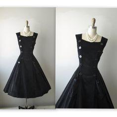 50's Velvet Dress // Vintage 1950's Black by TheVintageStudio, $116.00. One of my favorite black dresses on here.