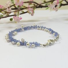 Tanzanite and Pearl Bracelet, Violet Blue Tanzanite Gemstone Bracelet with Delicate Creamy Freshwater Pearls and 925 Sterling Silver