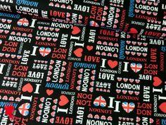 Baumwolle LONDON Motiv 3 schwarz von Die Nähfee DIY auf DaWanda.com