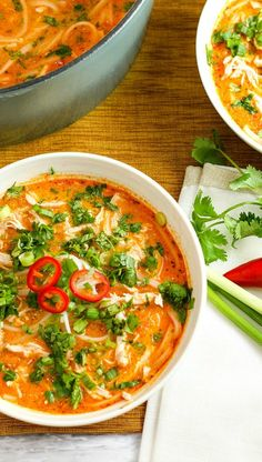 Skip the takeout! This delicious Thai Chicken Noodle Soup is easy to make at home with ingredients you can find in your local supermarket. If you love Thai food, you need to try this recipe!
