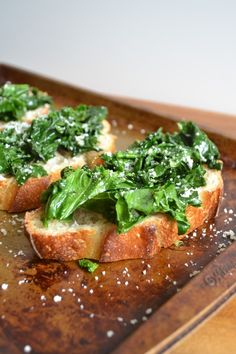 Garlicky Kale and Parmesan Brushetta - sarcastic cooking