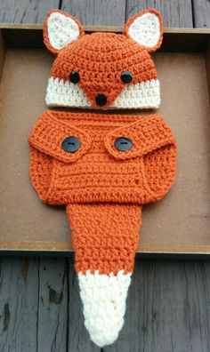 Newborn Crochet Fox Outfit PATTERN (0-3 Months) Fox Hat and Diaper Cover…