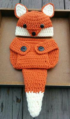 Newborn Crochet Fox Outfit PATTERN 0-3 Months by BeeMineCrochet