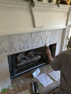 Fantastic Images herringbone Brick Fireplace Thoughts How to Add Herringbone Marble Tile to a Fireplace – Southern Hospitality Paint Fireplace Tile, Tile Around Fireplace, Herringbone Fireplace, Marble Fireplace Surround, Fireplace Logs, Brick Fireplace Makeover, Marble Fireplaces, Fireplace Surrounds, Fireplace Design