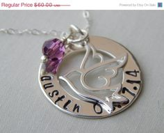 20% Off Sale Mother's Day Necklace-Mom Necklace-Hand Stamped Necklace-Eternity Circle-Personalized Sterling Silver Jewelry -Dove Charm on Etsy, $53.11 AUD