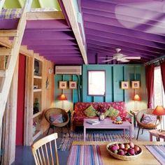 I like the purple ceiling and the loft room! For like a beach house Coastal Colors, Tropical Colors, Bright Colors, Coastal Style, Happy Colors, Rainbow Colours, Tropical Style, Coastal Decor, Bright Pink