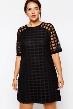 Stylish Netty Mesh Overlay Plus Size Mini Dress