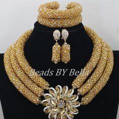 Fabulous Gold Crystal Beads Women Necklace Bridal Lace Jewlery Nigerian Wedding African Beads Jewelry Set Free Shipping ABF470