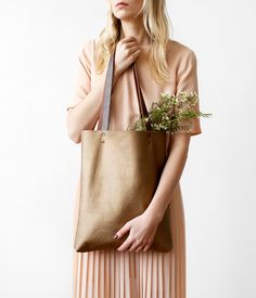 SPRING SALE Brass Metallic Pearl Leather Tote bag No.TL by CORIUMI
