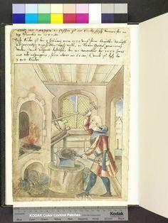 Blacksmith making metal bottles  Die Hausbücher der Nürnberger Zwölfbrüderstiftungen