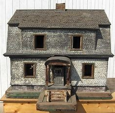 RARE ANTIQUE FOLK ART METAL ARCHITECTURAL MODEL HOUSE.