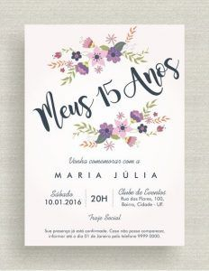 Convites para Festa de 15 anos Floral Aquarela Quince Invitations, Purple Wedding Invitations, Diy Invitations, Digital Invitations, Invitation Cards, Invites, Sweet Fifteen, 15th Birthday, Birthday Parties