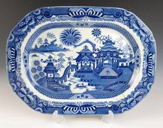LG Antique ENGLISH PEARLWARE CHINOISERIE PLATTER Blue Transferware Staffordshire