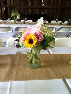 #rustic #country #wedding with #burlap #yellow #pink #white by Fields in Bloom