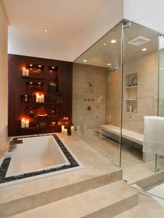Bathtub for romantic settings or to relax after training but use the waterfall shower in other pin..