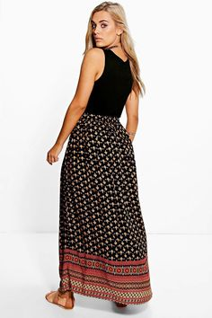 13d60a325742 Boohoo Womens Plus Stacey Printed Woven Maxi Skirt