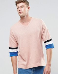 ASOS Knitted T-shirt with 3/4 Length Sleeves
