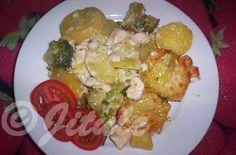 """""""Zapečená brokolice s kuřecím masem a brambory"""" - doporučuji!!! SUROVINYasi 1kg brambor, 1 brokolice, 300g kuřecích prsíček, 1 smetana 30%, 5-10dkg,eidamu, máslo, sůlPOSTUP PŘÍPRAVYBrambory oloupeme a pokrájíme na asi 1cm silné plátky. Brokolici rozdělíme na růžičky a společně s brambory dámevařit na 15 minut do osolené vody. Poté to zcedíme a nasypeme do máslem vymazané zapékací mísy. Mezitím si pokrájíme na kostičky kuřecí maso a na slabém plátku másla jej osmahneme lehce d..."""