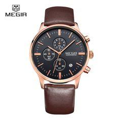 4d864961737 MEGIR 2011 Water Resistance Male Japan Quartz Watch with Date Function  Genuine Leather Band