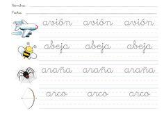 FICHAS ABECEDARIO LETRA CURSIVA  fichas con pauta para trabajar la letra cursiva y el abecedario