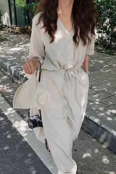 Korea 2021 New Casual Jumpsuit Wide-legged Pants Sold Color Cotton Office Lady Temperament Workwear Pants Jumpsuit Outfit, Casual Jumpsuit, Office Ladies, Cotton Style, Half Sleeves, Wide Leg Pants, Work Wear, Legs, Jumpsuits
