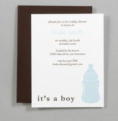 Blue Bottle A2 Flat Note Baby Shower Invitations Set by RatDogInk, $17.00