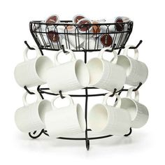 Mug Tree with Basket.....I have this one...perfect for coffee bar ....k-cups and mugs all within reach...