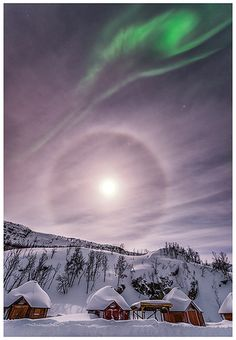 Halo moon and aurora, northern Norway