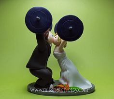Sporty Weight Lifter Couple Navy White Grey Orange Wedding Cake Topper by missnatch.etsy.com