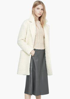 Bouclé wool coat - Coats for Women | MANGO
