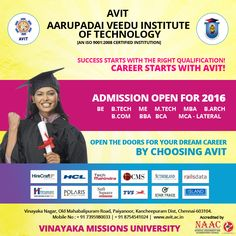 Hurry up!!! Admission open for the year 2016-17.  #AVITChennai #VinayakaMissionUniversity #EngineeringCollegesinChennai #ArchitecturecollegeinChennai
