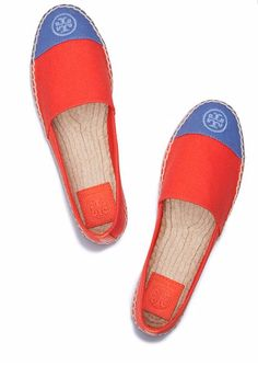 10 Blue/Coral Items We're Crushing On. Tory Burch flat espadrilles for $150, more details at www.styleblueprint.com