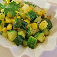 Fresh Corn and Zucchini Saute  (added pinch of cayenne first time trying)