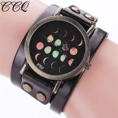 Top Brand CCQ Women Watch Vantage Moon Eclipse Pattern Leisure Watches Casual Analog Quartz Bracelet Watch 8 Colors Wave relogio