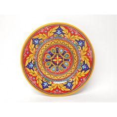 "Stunning Antico Geometrico 8"" Plate by Sberna, Italian pottery handmade in Deruta"