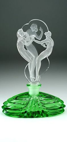 c.1930s CZECH DECO URANIUM GREEN GLASS SCENT PERFUME BOTTLE WITH CLEAR BIRTH OF VIRGINS STOPPER, VOGEL