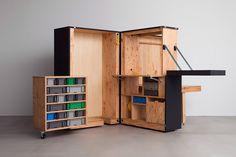 Sohko Transform Box Office Fold Out Desk, Mobile Command Center, Portable Workstation, Kiosk Design, Folding Furniture, Office Workstations, Desk Areas, Design Firms, Innovation Design