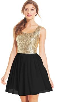 B Darlin Juniors' Sequin Pleated A-Line Dress  $89 $59.99