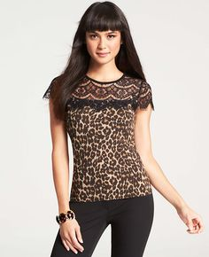 Petite Leopard Print Lace Top Shell