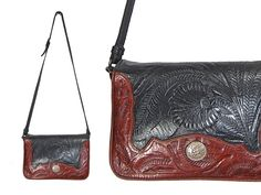 Two Tone Tooled Leather Saddle Bag // Maroon by IntertwinedVintage