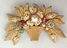 Fabulous Vintage Faux Pearl Brooch Pin Signed Miriam Haskell | eBay