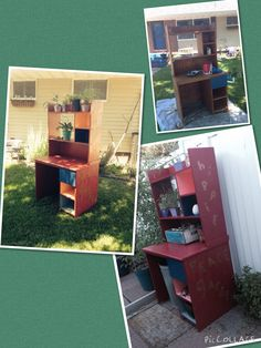 $6 solid wood thrift shop desk= upcycled Hippie Peace Garden (potting table).