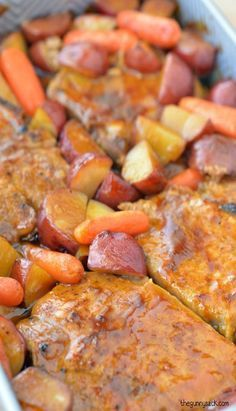 Oven Roasted Pork Chops with Potatoes and Carrots - a delicious family dinner; bakes in 45 minutes. : The Gunny Sack Oven Roasted Pork Chops, Roast Pork Chops, Pork Roast In Oven, Pork Chops And Potatoes, Boneless Pork Chops, Pork Steaks, Bbq Pork, Pork Chop Recipes, Meat Recipes