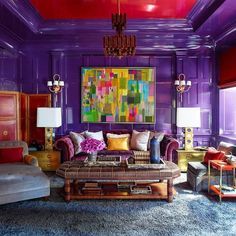 Still an all time favorite!! Steve Gambrel knocks it out of the park in this curated living space. 🤩🤩💜  Project By: @stevengambrel 📸: Unknown  Laquer: @finepaintsofeurope  #thevibrantinterior #andreaschumacherinteriordesigner #denverinteriordesigner #santabarbarainteriordesigner #palmbeachinteriordesigner Home Interior, Interior Decorating, Interior Design, Purple Interior, Interior Livingroom, Decorating Ideas, Decor Ideas, Room Colors, House Colors