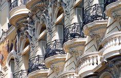 Hotel balconies overlooking the harbour in Monte Carlo, Monaco