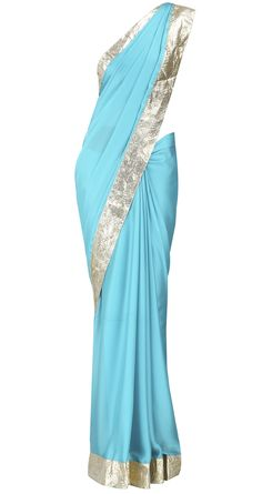 Surendri presents Blue flat chiffon satin sari with gotta detail available only at Pernia's Pop-Up Shop. Indian Attire, Indian Ethnic Wear, Indian Dresses, Indian Outfits, Salwar Kameez, Desi Clothes, Indian Clothes, Fancy Sarees, Indian Couture