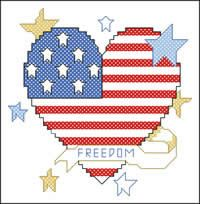 Patriotic Heart free cross-stitch... no color chart available, just use pattern chart as your color guide.. or choose your own colors...