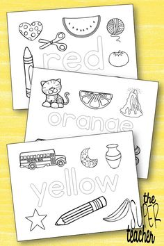 The 9 coloring pages in this printable packet each feature a single color name and an assortment of clip art for students to color accordingly.  Featured colors are: Red Orange Yellow Green Blue Purple Pink Brown Black