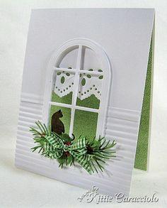 Clean and Simple Cat in Christmas Window - KittieKraft